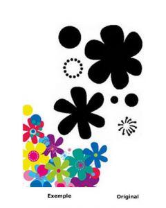 Pochoir Fleur : Fleurs Sixties