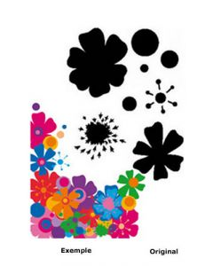 Pochoir Fleur : Fleurs Seventies