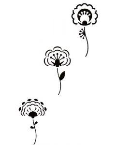 Pochoir Fleur : 3 Fleurs